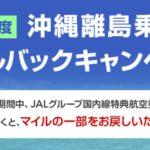 【JAL】沖縄離島への特典航空券を発券すると最大3500マイルが戻ってきます